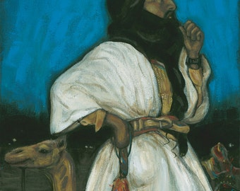 FREE SHIPPING SALE // Visions of Africa:  Tuareg Tribesman by Carrie Martinez // Surrealism, Mysticism, Tarot and Visionary Art