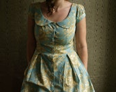 Floral toile button down  peter pan collar dress with cap sleeves, pockets, and attached petticoat- made to measure
