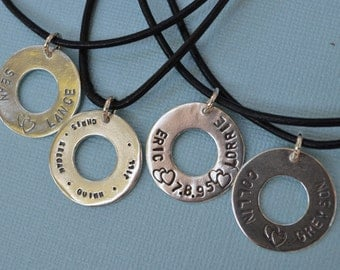 Leather Necklace - Personalized Charm - Sterling Silver  - For Him or Her -  Stamp Words, Song Lyrics, Names, Dates or Anything Special