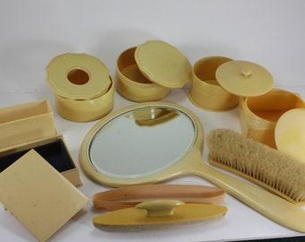 Vintage Dresser Vanity Set Yellow Celluloid Boudoir Bathroom Dressing Table Accessories 14 Pieces