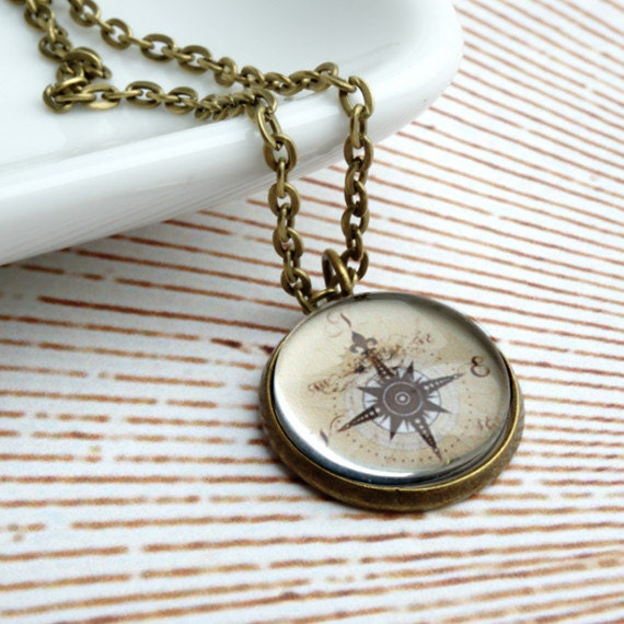Steampunk Vintage Compass Pendant Necklace in Antique by ...