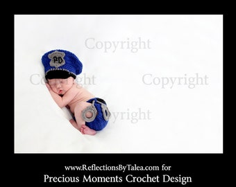 Newborn Police Officer Hat and Diaper Cover set, Baby Cop set, Baby Police Officer PHOTO PROP
