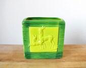 Vintage Ceramic Planter // Aborn Pottery // 1960's // Deer Planter // Woodland // Faux Bois // Green // Chartreuse