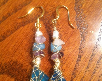 Mermaid's treasure wire-wrapped earrings - custom made -  freshwater pearl, amethyst and clear quartz, seaglass