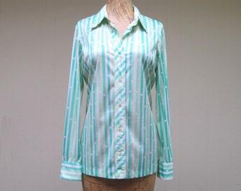 Vintage 1970s VERA Blouse / 70s Striped Vera Neumann Top / Small - Medium