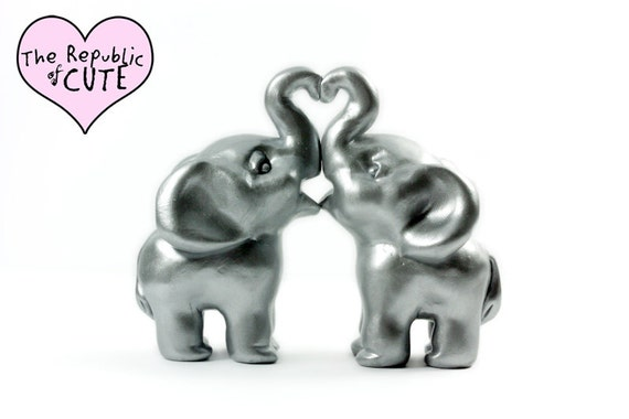Silver Elephant Wedding Cake Toppers - Ready to Ship - Handmade Polymer Clay