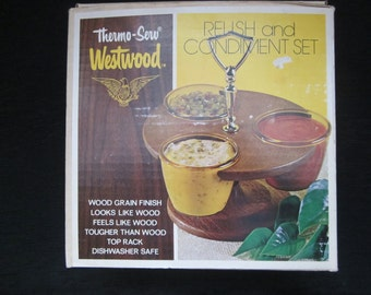 70s Unused Lazy Susan Serving Set - Thermo Serv Westwood Walnut Look Relish and Condiment