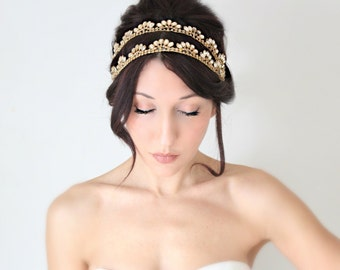 Bridal Headband, Gold Whimsical Romance, Rhinestone, Bridal Hair,Tiara, wedding accessory, bridal headpiece, Flapper - La Oiseau - -