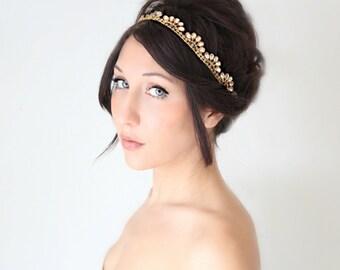 Bridal Headband, Gold Whimsical Romance, Rhinestone, Bridal Hair,Tiara, wedding accessory, bridal headpiece, Flapper - La Oiseau - -