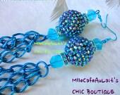 Mediterranean Blue Czech Crystal, Aqua Rhinestone Bead and Chain Earrings- AQUA CALIENTE