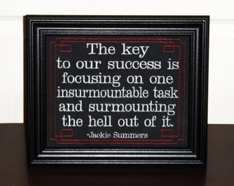 """Inspirational Success Quote """"Surmountable"""" Jack from Brooklyn business quote framed embroidery 8x10- adjustable in color"""