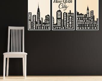 New York City Skyline Poster - NYC Skyline Poster - City Skyline New York - Typographic Print - Retro Art Poster - NYC City Map