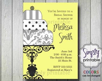 Bridal Shower Invitation Yellow Gray