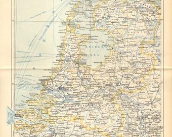 1896 Original Antique Map of the Netherlands