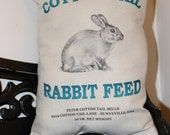 Easter or Spring Decoration-Peter Cotton Tail Bunny Rabbit Feed Sack Pillow, Burlap & Muslin