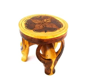 Folk art Wooden Footstool Carved Antelope Mid century Modern Stylized Animal Wood Stool  Pyrography Round Table top