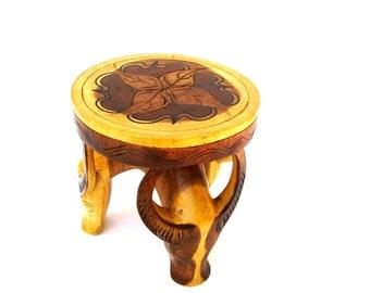 Artisan Wooden Footstool Carved Antelope Mid century Modern Stylized Animal Folk Art Round Wood Stool