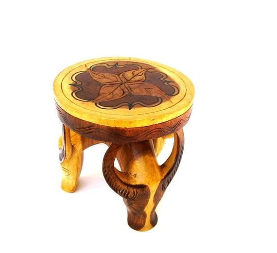 Artisan Wooden Footstool Carved Antelope Mid Century Modern