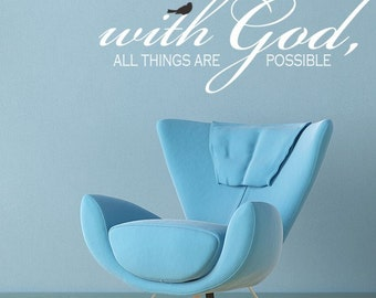 Spiritual Wall Decal, With God All Things Are Possible Vinyl Decal Wall Art