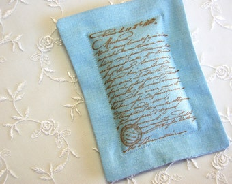 Lavender Sachet w/ Old World Script on Soft Blue Linen (Gifts under 10 dollars) Fresh Dried Lavender/ Paris/ French Script