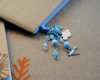 Blue Bookmark Beaded Ribbon Book Thong Bird Sky Cloud Spring Book Club Graduation Gift
