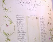 Seating Chart.  Calligraphy and Custom Art painted to match your wedding theme.