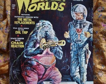 Weird Worlds 1971 Erie Publications Vol 2 No 3 Space Rot Sci Fi Horror Voodoo Gargoyle Robots Outer Space art illustration
