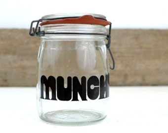 Vintage Munchies Glass Canister Jar with Helvetica Font