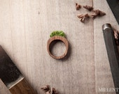 Women's Wood Ring With Grass Handmade Eco Friendly Forest Jewelry 004 - MrLentz