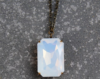 White Opal Necklace Swarovski Crystal Duchess Rectangle White Opal Necklace Large Crystal Necklace Mashugana
