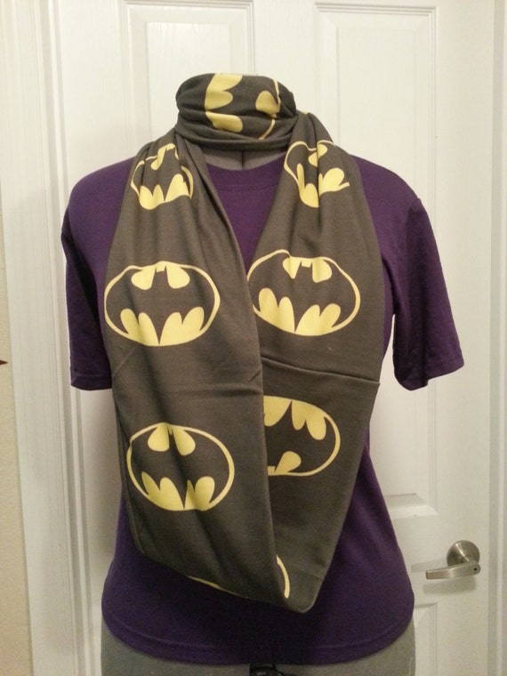 Knitting Pattern Batman Scarf : Items similar to Batman symbol Infinity KNIT scarf - made ...