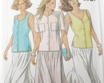 Button Front Tank Top Shirt Sewing Pattern Blouse and Skirt Summer Outfit New Look 6329 sz 8 - 18