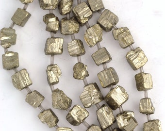 10-14mm Natural PYRITE Fools Gold Gemstone ROUGH CUBE Beads, full strand, about 18-20 beads, gpy0005