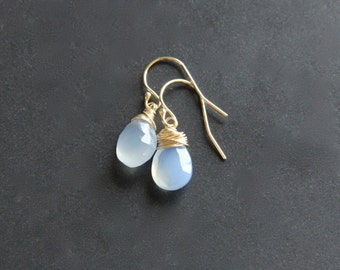 Pale Blue Chalcedony Earrings, 14K Gold Filled Jewelry, Wire Wrapped Briolette