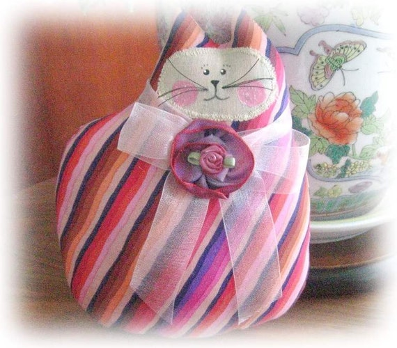 CAT Pillow Doll Cloth Doll 7 inch Cat PINK Stripes Primitive Soft Sculpture Handmade CharlotteStyle Decorative Folk Art