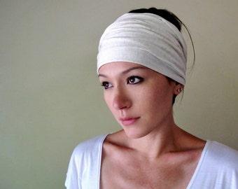 IVORY Yoga Head Scarf - Yoga Hair wrap - Workout Headband - Lightweight Jersey Hair Accessory - Womens Hair accessories by Ecoshag