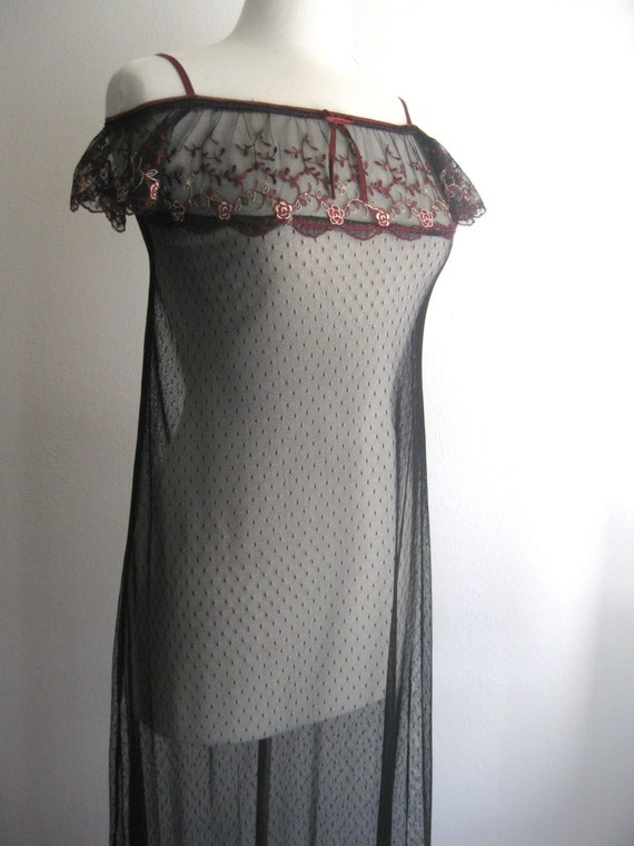 CLEARANCE Vintage Black Sheer Off the Shoulder Gown