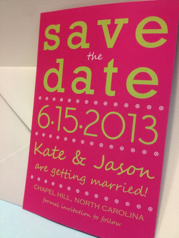 Pink and Green Simple Save the Date MAGNET Wedding Invitation Typography