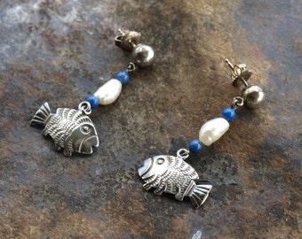 Vintage Freshwater Pearl Fish Earrings Sterling Silver