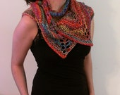 Hand Knit Triangles Shawl (red, pink, orange, yellow, green, blue, purple) (Ready to Ship)