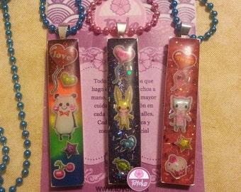 "On Sale!! Necklace ""PandaLove-BunnyCute"" (POP-GLITTER)"