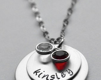 Mothers necklace - Two disc grandmothers necklace - Two name mothers necklace - Two name grandma necklace