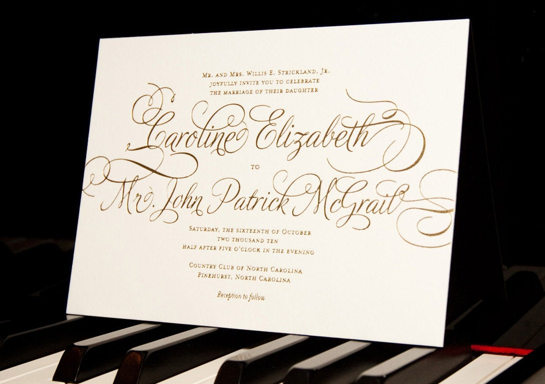 Printable Wedding Invitation Gold Calligraphy Simple