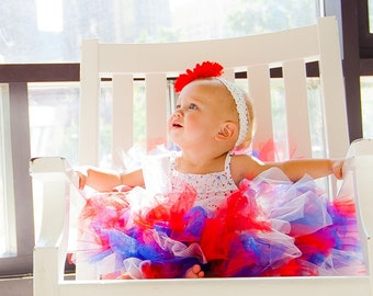 4th of July Baby Tutu:  RED, WHITE, & BLUE Patriotic Independence Day Tutu