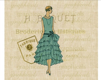 French fashion instant clip art Aqua blue Instant Digital download image for iron on fabric transfer craft burlap decoupage pillow  No. 1845
