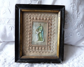 Antique reliquary frame religious Holy card relic frame paperolles catholic relic w handmade paper lace, French 1800s reliquary frame icon