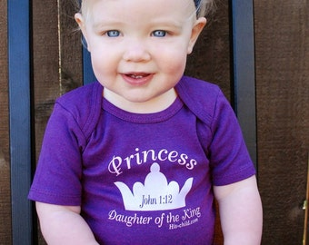 Princess Daughter of the King Children's Clothing, Kids Clothing, Toddler Shirt, Baby Shirt, Lap Shirt, Purple shirt, Christian Shirt, Crown