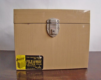 vintage faux bois industrial metal file box by File-A-Way / New Year get organized
