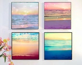 Wood Block Photo Set, Ocean Photography, Sunset Wall Art, Retro Beach Wall Art, Abstract Ocean Print Set