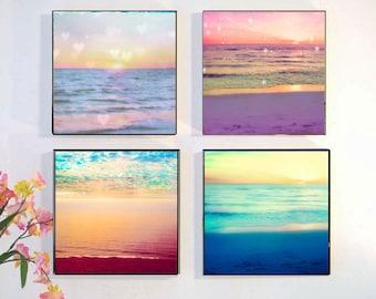Wood Block Photo Set, Ocean Photography, Sunset Wall Art, Retro Beach Wall Art, Abstract Ocean Print Set